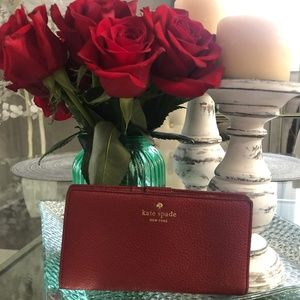Kate Spade snap button wallet in red